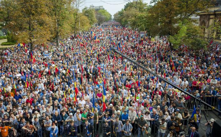 Протестующие в Кишиневе вступили в стычку с полицией